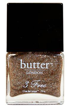 Glittery gold polish.