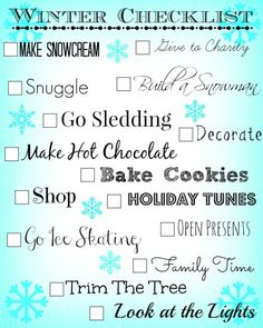 Things to do for winter checklist, a great way to help remember to have some fun during the hectic holiday season.