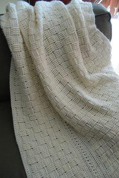 Crochet. Basketweave afghan in white.
