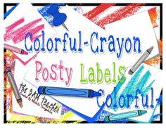 Colorful-Crayon Posty Labels (Less than .08 per image!) colorfulcrayon posti, posti label