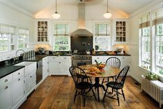 Can we just have reclaimed wood as flooring and get over it already! chair, window, floor, cozy kitchen, farmhouse kitchens, light, white cabinets, island, white kitchens