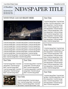 make a book report newspaper style Create a first-rate book report create the front-page of a newspaper with headlines about the book 3 identify the information characters.