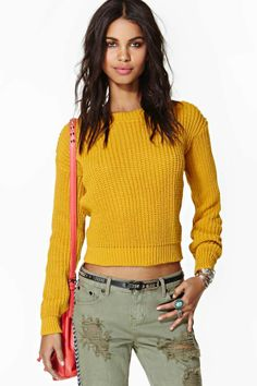 "Nasty Gal sweater, $58: ""My closet is missing a yellow sweater."" - Nora"