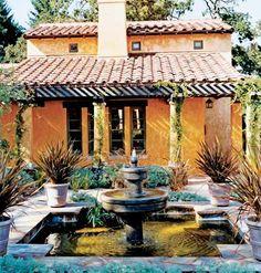 Spanish style; courtyard; fountain