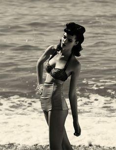 She Once Was Mine, editorial by Andoni & Arantxa. #Forties #1940 #fashion #beach #andoni_arantxa #bikini #swimsuit #bathing_suit #black_white #water #high_waisted