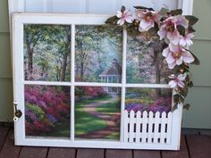 Old Window Project 2, Old window w/poster and embellished with a swag, hook & picket fence, Home Decor Project