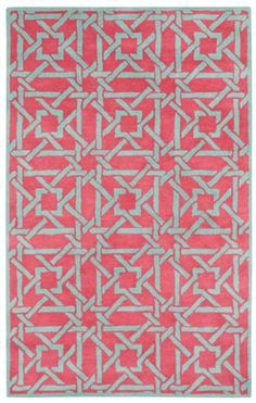Panache Bamboo rug in rouge mint could be the perfectly pink anchor in your room. #Capel_Rugs