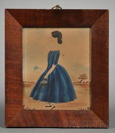 Miniature of a Girl Wearing a Blue Dress, America, c. 1840
