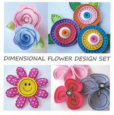 Embroidery Design Set for Machine Embroidery - Dimensional Flower Designs In-The-Hoop - Eleven Designs. $29.99, via Etsy.