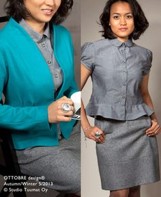 5/13 peplum blouse, pencil skirt