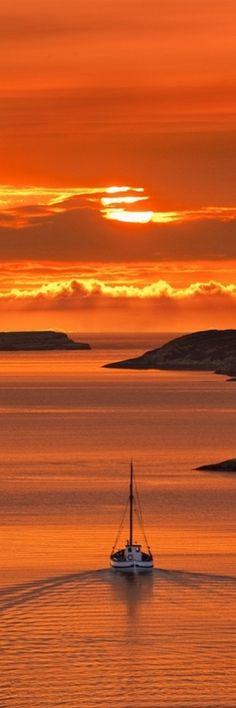 #orange #landscape #water #ocean #boat #sunset #sky #color #photography