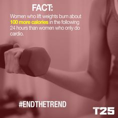 Don't be afraid of the resistance work in #FocusT25 ladies! You won't get bulky! You'll burn MORE calories than with cardio alone! So pick up those resistance bands or weights and let's #GetItDone!  http://bit.ly/GETFOCUST25 weight training