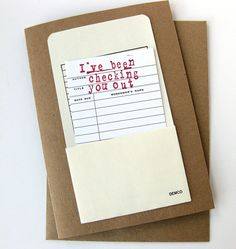 Valentine Card // Checking You Out Library Card // Funny Valentine. $5.50, via Etsy.