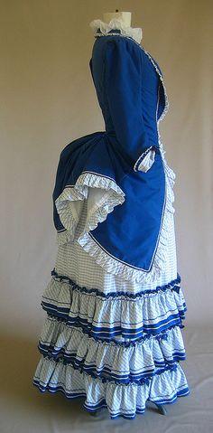 victorian day dress by Chinkypin, via Flickr #blueandwhite #Blue #Vintage #1800s #Victorian #Dress