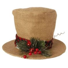Great new Burlap Top Hat coming to www.trendytree.com this summer! From the RAZ Tiny Tannenbaums collection.