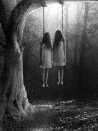 creepi, spooki, art, dark side, macabr, swing, twins, horror, halloween