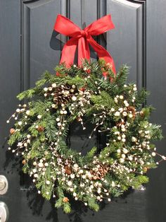 Christmas Wreaths - Baby It's Cold Outside - Holidays - Holiday Decor Wreath - Winter Wreath christma wreath, christmas wreaths, real wreath, red bow, holiday decor, winter wreaths