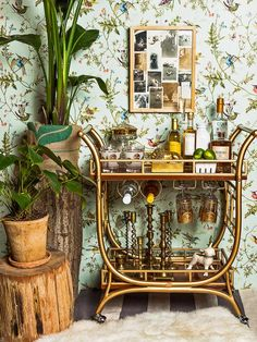 Kick off the new year with a gilded bar cart! Find out how to style your own bar cart here: http://www.hgtv.com/entertaining/how-to-style-a-bar-cart/pictures/page-8.html#?soc=Pinterest