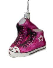 Pink Retro High Top Sneakers Christmas Mouth Blown Glass Ornament