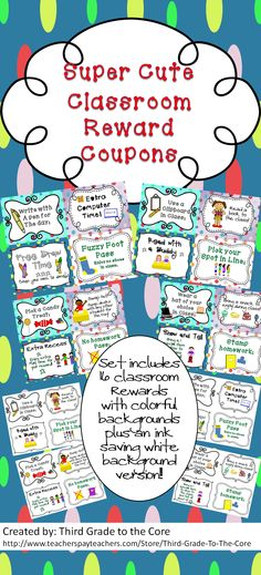 Reward your students for doing great things, and encourage them to keep doing it! This set includes 16 super cute behavior reward coupons. There are 2 versions....one with colorful backgrounds, and one set with white backgrounds to save ink!