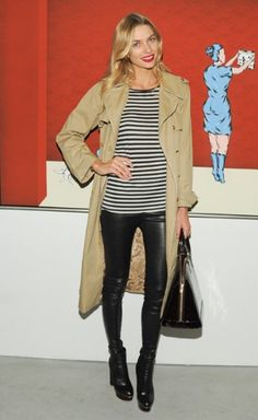 cloth, jessica hart style, latest fashion, red lips, stripes, fashion pictures, trench coats, leather, tan