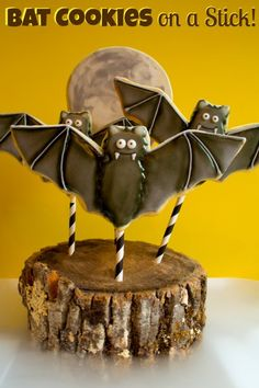 Bat Cookies on a Stick Tutorial