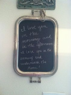 Chalk board paint on a serving tray with my favorite song :)