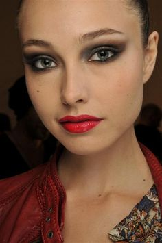 Holiday makeup look - smokey eyes and red pout.
