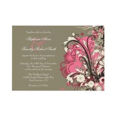 "I like the unusual color combination in this one! It works really well. ""Trendy Pink Gray Grunge Swirls"" wedding invitations."
