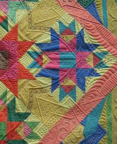 "close up, ""Kaleidoscopic Calamity"" by Margaret Solomon Gunn.  2013 PIQF, photo by Quilt Inspiration"