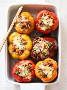 Stuffed Bell Peppers Recipe on foodiecrush.com