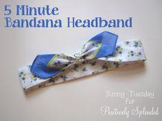 party favors, sewing machines, idea, bandana headband, 5minut bandana, headbands, hair, diy, crafts