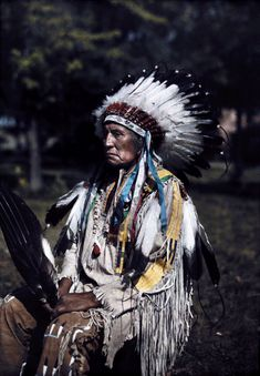 Montana - A portrait of the Indian 'Red Tomahawk', Crow Indian Reservation