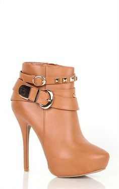Deb Shops Platform Bootie with Gold Studded Strap