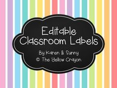 Here is a simple set of editable labels that you can use for your classroom!! Comes in two sizes so it's good for binder or bin labels or even student desk nameplates! #teacherspayteachers