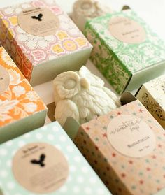A cute favor for a woodsy wedding: owl-shaped vegan soaps.