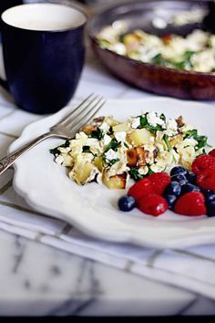 Spinach Feta and Potato Scramble