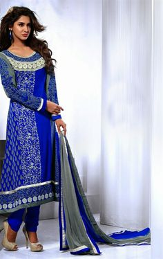 Picture of Scintillating Deep Blue Color Party Wear Salwar Kameez