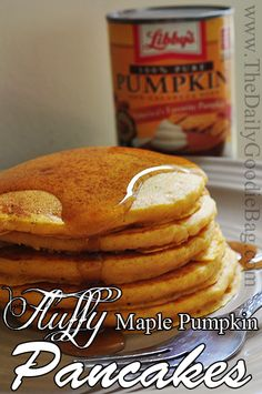 Fluffy maple pumpkin pancakes recipe - #recipe #food #recipes #pumpkin #pancakes #halloween #fall  http://thedailygoodiebag.com/2013/08/fall-recipe-fluffy-maple-pumpkin-pancakes/
