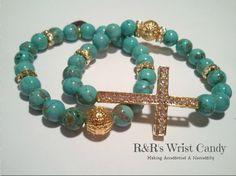 Turquoise Gemstone Beaded Bracelets by RandRsWristCandy on Etsy, $9.00
