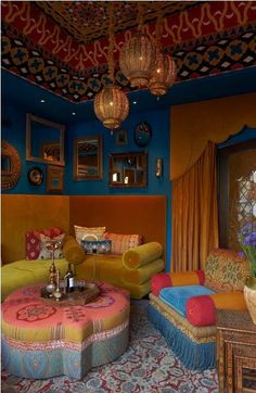 Such a colorful room! Moroccan Meditation Room. Click the link to get tips on getting this look in your home!