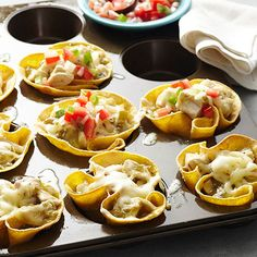 Green Chile Enchiladas make Mexican night even easier: http://www.bhg.com/recipes/trends/muffin-tin-recipes/?socsrc=bhgpin080214greenchileenchiladas&page=8