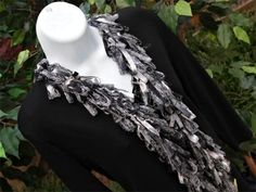 Shades of Gray and Pewter Ribbon Yarn Scarves   $40