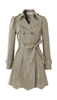 Floral Cut Out Tirm Trench Coat in Tan- love this coat!