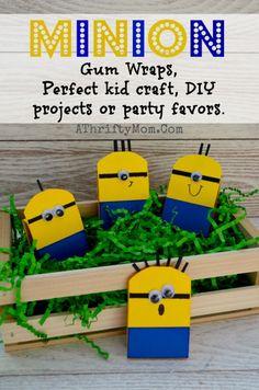 Minion Craft ideas for kids, Minions Gum Wrappers perfect for kids parties #Minions, #Minion, #KidCraft, #DIY