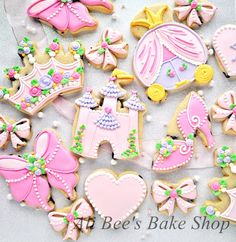 Gorgeous pink and purple princess cookies {Ali Bee's Bakeshop} #princess #girly #cookies