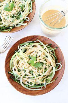Cucumber Noodles with Peanut Sauce Recipe on twopeasandtheirpod.com.