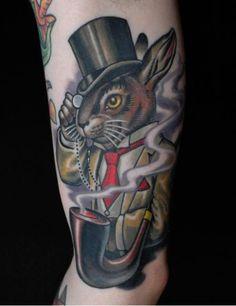 rabbit, artists, magic, bodi art, tattoos, alice in wonderland, russ abbott, top hats, tattoo ink