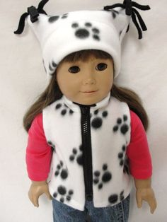 American Girl Doll Clothes  White Vest & Hat by DollClothesByJane