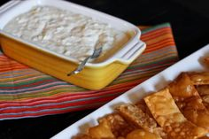 Crab Rangoon dip and wonton chips. Um, is this real life? I have to make this!